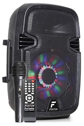 Fenton FT8LED - 8 Inch Mobiele Speaker 300 Watt met Ingebouwde Accu en LED Verlichting - voorzien van Draadloze Microfoon, Bluetooth, USB/SD MP3 Speler, Afstandsbediening