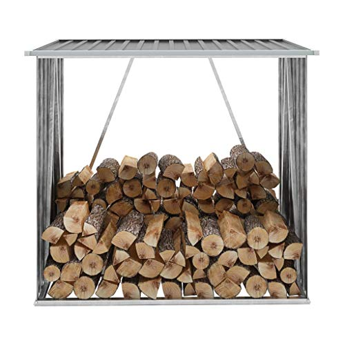 "vidaXL Garden Log Storage Shed,Firewood Rack Outdoor Storage Rack Holder Steel Tubular, for Lumber Stack, Logs, Wood ,Yard, Deck, House and Patio Decor,Galvanized Steel 64.2"" x32.7""x60.6"" Gray"