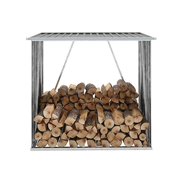 vidaXL Casetilla para Leña Acero Galvanizado 163x83x154 cmGris Almacén Taller