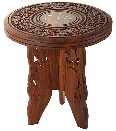 Woodcart Handmade Wooden Table Round Vase with 3 Leg Carving Brass Folding Stool (9-inch)