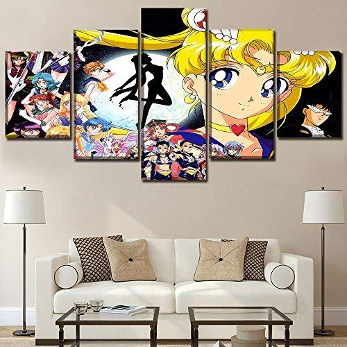 YFTNIPL Quadro 5 Pezzi Stampa su Tela Immagini Sailor Moon Usagi Tsukino Crystal Silver Decorazione da Parete Pronto da Appendere Decorazione Moderna per La Casa,Artwork Allungato E Incorniciato