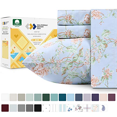 400 Thread Count 100% Cotton Sheets in Antique Rose Printed Queen Size Set 4Piece Longstaple Combed Cotton Best Sheets For Bed Breathable Sateen Weave Fits Mattress 16#039#039 Deep Pocket
