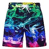 Idgreatim Swim Trunks for Boys Long 3D Colorful Smoke Graphic Printed Bathing Suit Beachwear with Drawstring Sport Running Mesh Swimwear Swimsuit 11-12 Years
