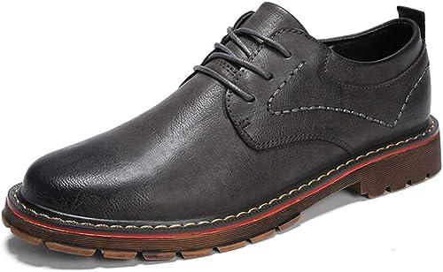 Herren Lederschuhe Oxford Casual Komfortable Low-Top Pure Farbe Lace Up Runde Zehenschuhe (Farbe   Grau, Größe   44 EU)