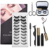 12 Pairs of Different Reusable 3D/5D/8D Magnetic Lashes Coosa with Tweezer Scissor Brush and Waterproof Magnetic Eyeliner No Glue Needed Magnetic Eyelashes with Eyeliner Kit False Eye Lash Set-Black