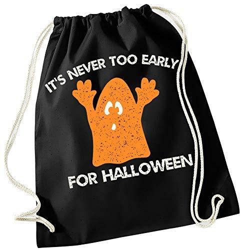 Cool Fun-T-shirts Its Never TOO EARLY VOOR HALLOWEEN! Gymtas rugzak tas voor kinderen zwart