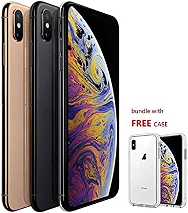"Apple iPhone Xs Max 6.5"" Fully Unlocked GSM+CDMA, Bundle with Free case, Gold Gray or Silver, Pick You Color Customize Now (256Gb)"