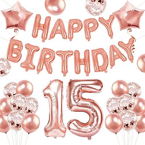 Geburtstagsdeko Rosegold Set, 15. Geburtstag Dekorationen, Banner Ballon Happy Birthday Ballons Rosegold Konfetti Luftballons, Geburtstag Party Deko Mädchen, Geburtstag Deko...