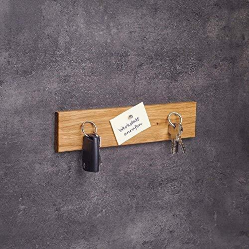 Woods Schlüsselbrett Holz magnetisch Eiche I Schlüsselablage I magnetische Messerleiste I Wanddekoration aus Holzhandgefertigt in Bayern I Schlüssel Aufhänger I Schlüsselhalter Länge 30 cm