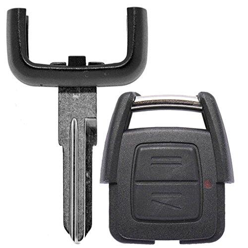 Auto Schlüssel Funk Fernbedienung 1x Gehäuse 2 Tasten + 1x Rohling HU46 kompatibel mit Opel