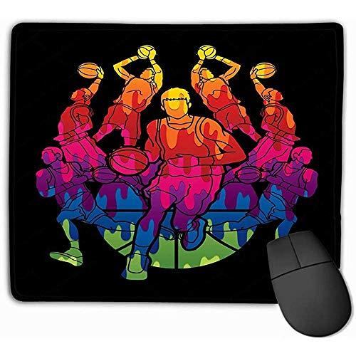 Aangepaste muis Pad,30X25CM Unieke Printed Mouse Mat Ontwerp Basketbal Team Speler Dunking Dripping Ball Action Grafische schilderijen