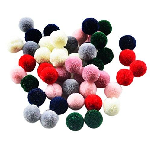 kowaku 50 Piezas Creativas Bolas de Pompón de Fieltro de Lana de Colores Mezclados Artesanía Que Hace Material de Bricolaje