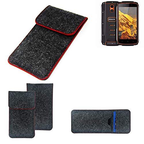 K-S-Trade® Handy Schutz Hülle Für Energizer P20 Schutzhülle Handyhülle Filztasche Pouch Tasche Case Sleeve Filzhülle Dunkelgrau Roter Rand