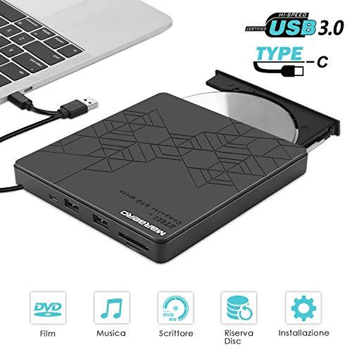 Masterizzatore DVD Esterno MARBERO Lettore Portatile con HUB Incorporato USB 3,0/2,0 di CD-R DVD±RW CD±RW CD-RW DVD-R DVD Rom per PC Laptop MacBook con Sistema di MacOS Windows Linux