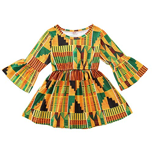 YOUNGER TREE Toddler Infant Baby Girl Dress Floral Ruffle Flare Half Sleeve Yellow Skirt Party Dresses Clothes (6-12 Months, Yellow African Floral Dress)