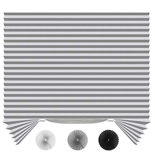 """SEEYE Light Filtering Temporary Blinds Cordless Shades Fabric Pleated Fabric Shade Easy to Cut and Install, 48"""" W x 72"""" L - 2 Pack, Grey,with 4 Clips"""