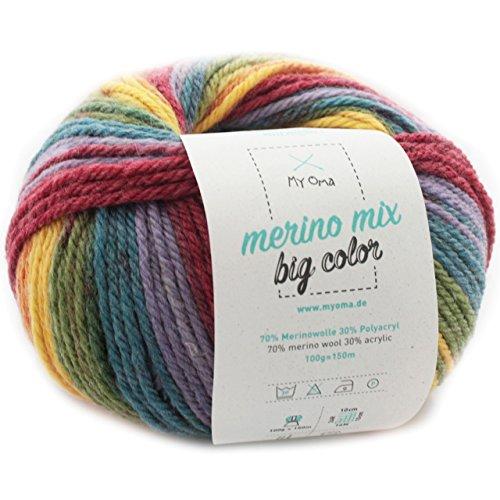 MyOma Wolle bunt - 1 Knäuel Merino Mix Big Color Fantasy (Fb 5001) - Wolle Farbverlauf 100g/150 m + GRATIS Label – Wolle Farbverlaufgarn Nadelstärke 6-7 mm – Wolle Regenbogen
