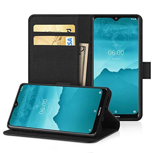 DN-Alive Pu lederen hoesje voor Nokia 6.2 [Portemonnee] [Kaarthouder] [ID-houder] [Echte Flip] [Kaartsleuf] [Boek] [Standfunctie] (Nokia 6.2), Stand Case, Zwart