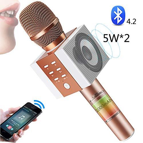 SHENGY 10W Hi-Fi Bluetooth luidsprekerspeler, draadloze karaokemicrofoon, handheld home party verjaardag microfoon luidspreker, voor iPhone en Android smartphone