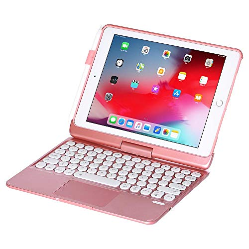 Keyboard For iPad 10.2 2019/2020 Tablet Protection Case 7 Colors Backlit Bluetooth Keyboard Touchpad for iPad Air Pro 10.5-Pink_for iPad 10.5
