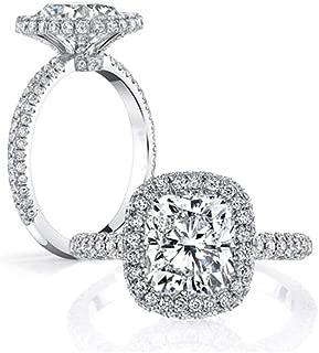 Erllo Women Wedding Halo Ring 3 Carat Cushion Brilliant Cubic Zirconia Engagement Promise Anniversary Ring Solitaire Wedding Bridal Band