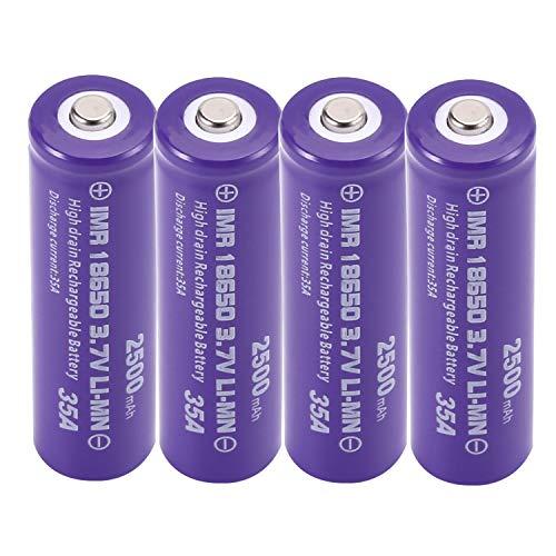 18650 Batterie Li-ION Rechargeable Haute Capacité 2500mah 3.7v Batterie pour Lumières Solaires Batterie Guirlande Lumineuse TV Télécommande sans Fil Souris LED Lampe De Poche,66 * 18mm (4 PCS)