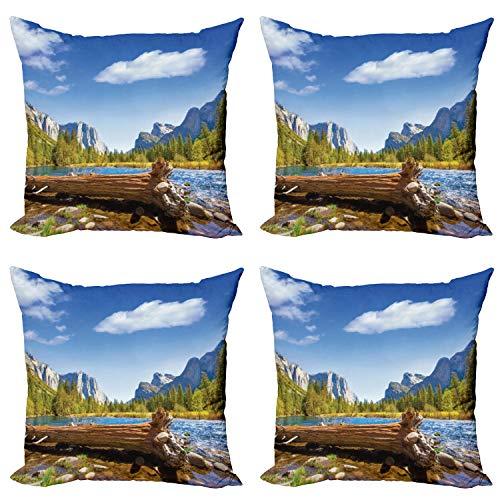 ABAKUHAUS Americano Set de 4 Fundas para Cojín, California Yosemite, Estampado Digital en Ambos Lados y Cremallera, 45 cm x 45 cm, Verde Azul