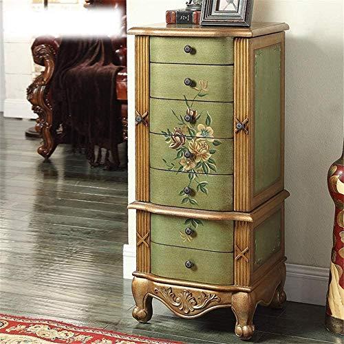 Sieradenkast houten Ladekast met 7 lades Sieradenkast Kast met spiegel Retro landelijke stijl Meubels 44x38x93Cm groen-Groen Perfect