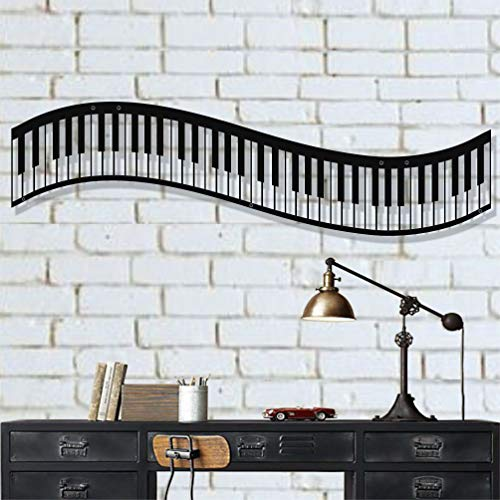 Metal Wall Art, Metal Piano Wall Art, Music Decor, Interior Decoration, Office Decor, Bedroom Living Room Decor, Wall Hangings (47'W x 13'H / 120x34cm)