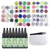 8X 30ML Cristal Époxy Résine, 60 Différents types de Décoration avec Lampe...