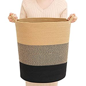 ZLG Cotton Rope Basket Baby Laundry Basket Toy Storage Basket Nursery Basket Soft Storage Bins