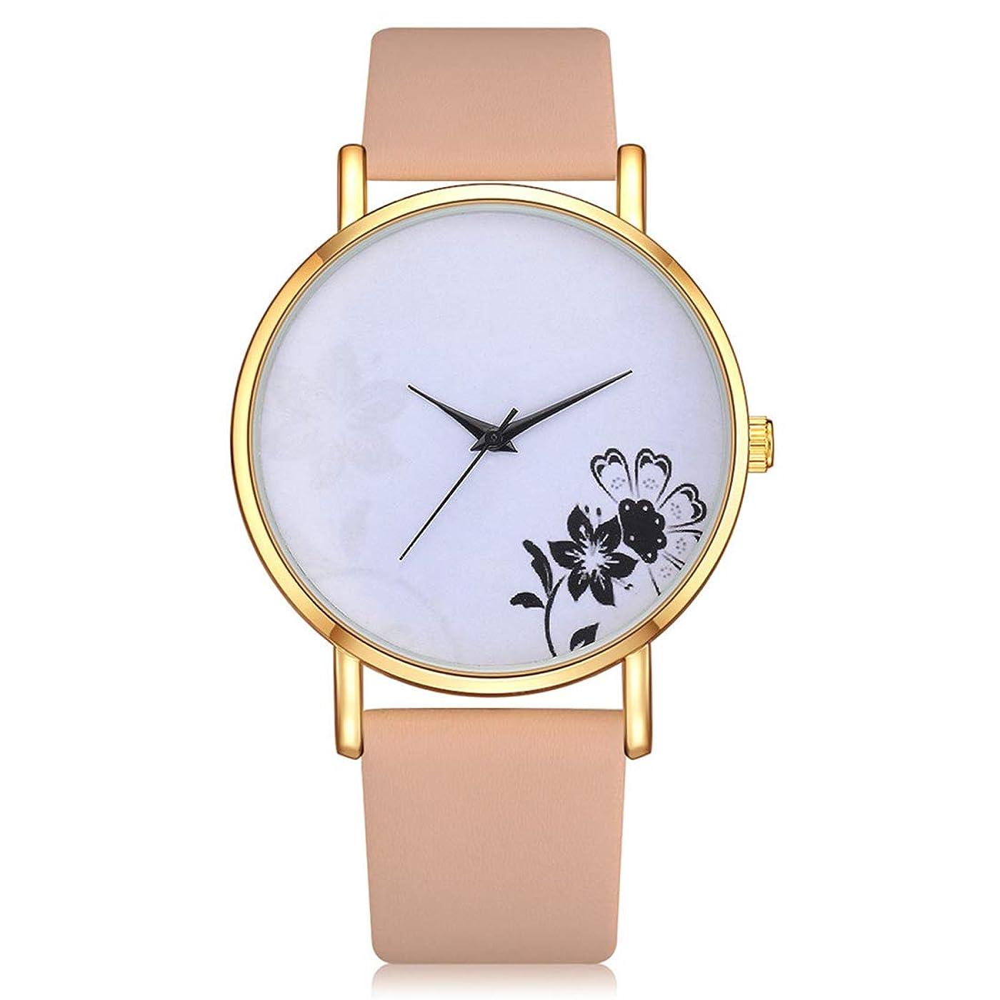 プレミアモナリザ質素な女性 'S人気のアートフラワーデザインカジュアルクォーツレザーバンド時計アナログ腕時計