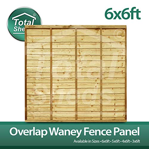 Total Sheds 6x6 (1.83m x 1.83m) 6ft x 6ft Waney Larch Overlap Fence Panels In Stock Ready To Go