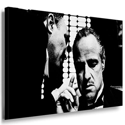 Godfather Leinwandbild LaraArt Bilder Schwarz Weiß Kunstdruck Wandbild 120 x 80 cm