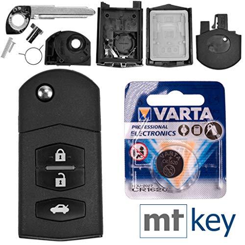Autoschlüssel Funk Fernbedienung Austausch Gehäuse mit 3 Tasten + Rohling + Batterie kompatibel mit Mazda 2 DE 6 GH CX-7 ER MX-5 NC 3 BL 5 CR A