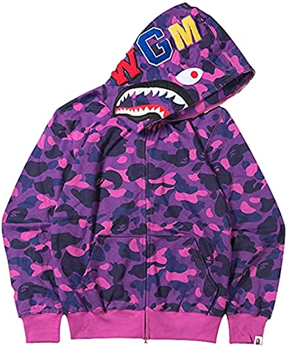 EMLAI Niños Sudadera con Capucha Bape Shark Impresión 3D Tiburón Hoodie con Bolsillo Chaqueta con Cremallera Halloween (M, 1 Púrpura)