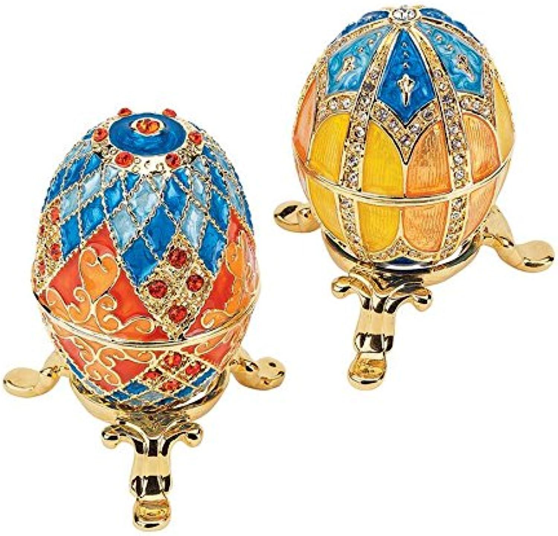 Design Toscano Grand Duchess 2-Piece Georgievna and Nikolaevna Enameled Egg Set