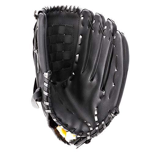 Portzon Baseball Gloves, Baseball Mitts Pitcher, Left Hand Baseball Leather, Outdoor Sports Softball Gloves Man Woman Training Practice Equipment,Unisex 12.5 Inch Suit for Beginner Black