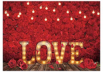 Funnytree 7x5FT Love Red Rose Backdrop Valentine s Day Flower Background Vintage Romantic Wedding Couple Girl Bridal Shower Baby Shower Party Decor Banner Studio Photography Prop Photobooth Gift