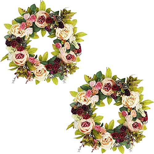 1/2/3pcs Artificial Peony Garland, Fake Plant Wreath, Faux Green Leaf Garland for Holiday Celebration Front Door Wall Window Family Farmhouse Porch Decoration,2pcs