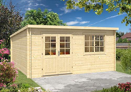 CARLSSON Alpholz Gartenhaus Atrium-40 A aus Massiv-Holz | Gerätehaus mit 40 mm Wandstärke | Garten Holzhaus inklusive Montagematerial | Geräteschuppen Größe: 500 x 500 cm | Pultdach