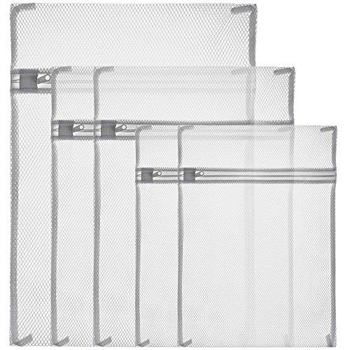 Zacro Wäschenetz 5 Stück Wäschesack mit Reißverschluss Wäschetasche Set Wäschebeutel perfekt für Waschmaschine Weiß