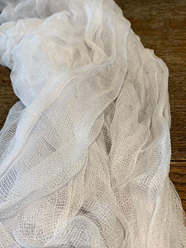 Delicate Open Weave White Gauze Table Runner Boho Unfinished Edge Cheesecloth Table Runner Wedding Arch Draping Fabric XL 14ft x 3ft Rustic Table Runner Romantic Tablescape