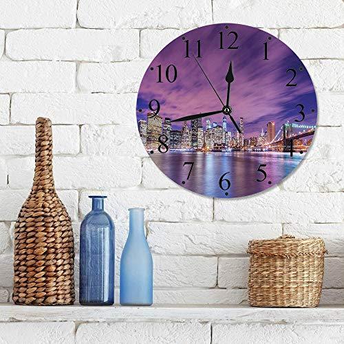 Silencioso Wall Clock Decoración de hogar de Reloj de Redondo,Moderno, Skyline de la ciudad de Nueva York en la noche con rascacielos Manhattan USA Ameri,para Hogar, Sala de Estar, el Aula