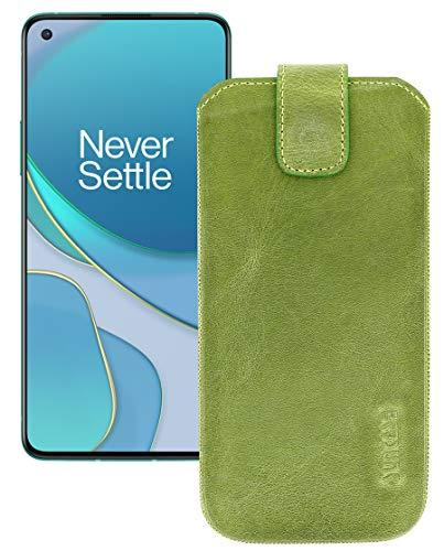 Suncase Leder Tasche kompatibel mit OnePlus 8T Hülle mit ZUSÄTZLICHER Transparent Hülle   Schale   Silikon Bumper Handytasche (mit Rückzugsfunktion & Magnetverschluss) in antik-Kiwi grün