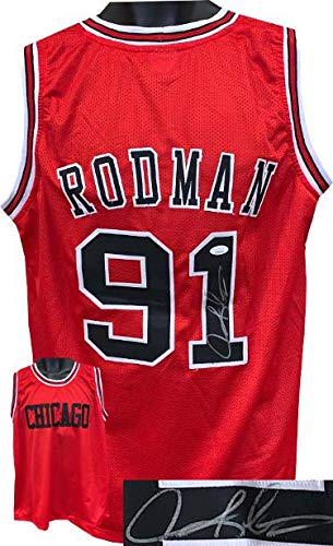 Dennis Rodman signed Red TB Custom Stitched Basketball Jersey XL- JSA Witnessed - Autographed NBA Jerseys