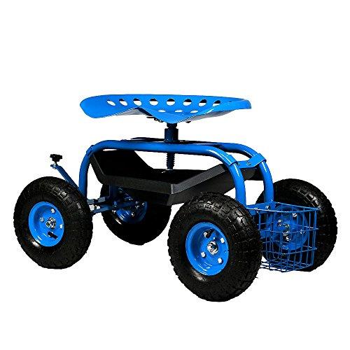 Sunnydaze Rolling Gardening Chair Cart with Wheels...