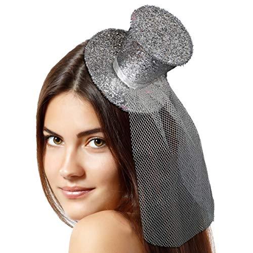 Folat Diadème avec Chapeau Haut-de-Forme Paillettes (Taille Unique, Argent)