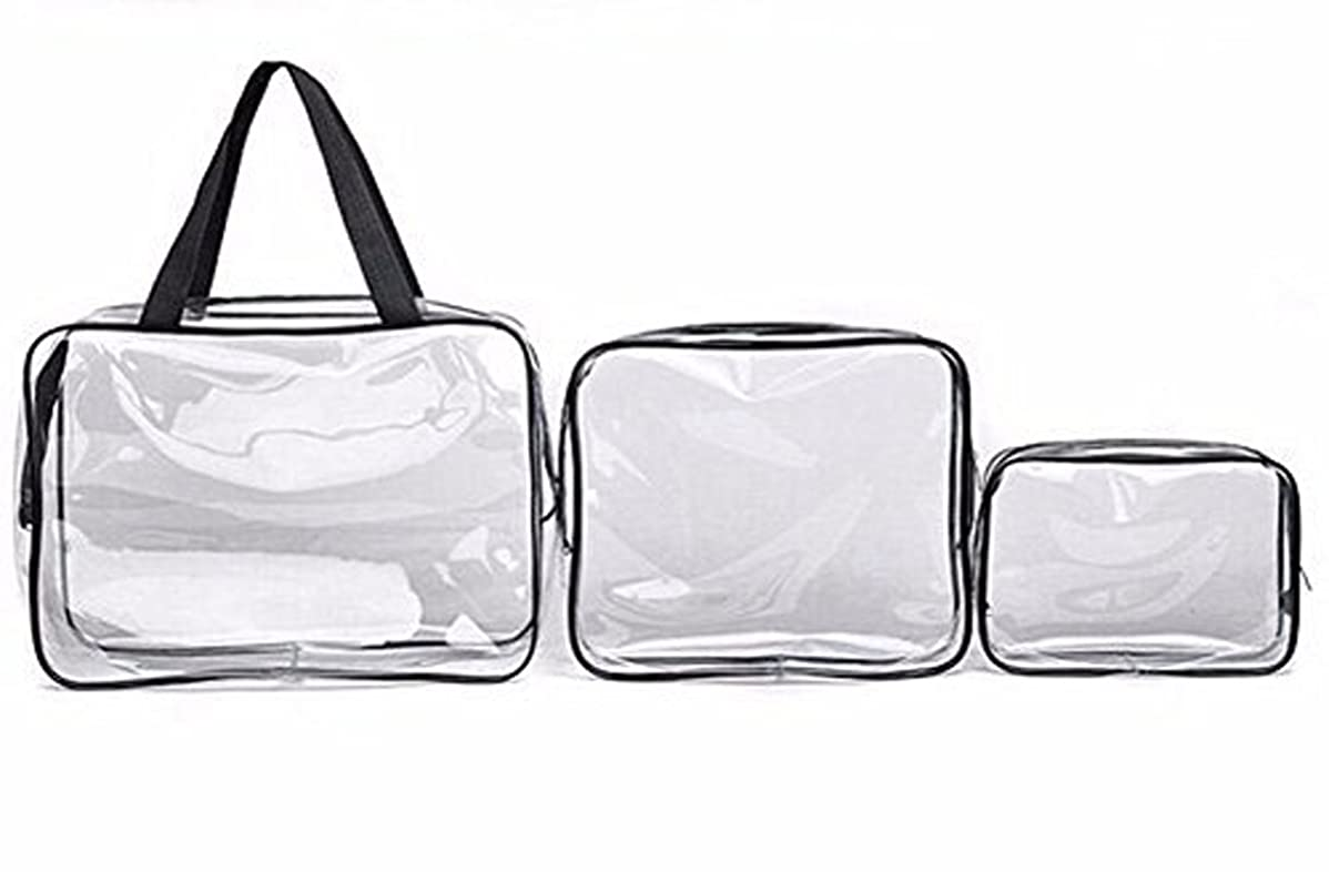 腐敗の間にベーリング海峡3pcs Clear Portable Makeup Cosmetic Toiletry Travel Bath Wash Storage Bag Transparent Waterproof Pouch Organiser Make Up Bag