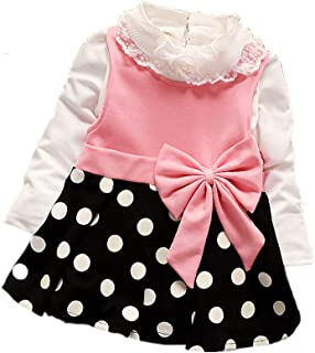 Toddler Baby Girl Warm Cute Princess Dress Long Sleeve Party Skirt Outfits for Kids Fall Clothes Costume